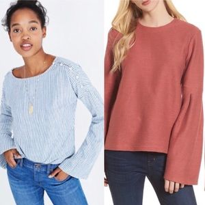 (2) Madewell Bell Sleeve Tops
